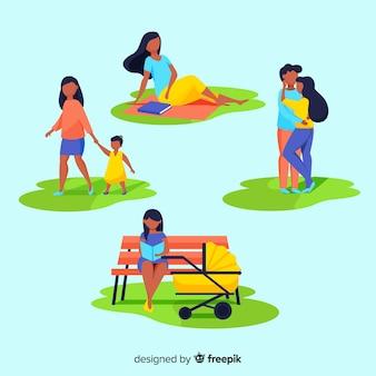 Pessoas, fazendo, coisas, em, a, parque, cobrança