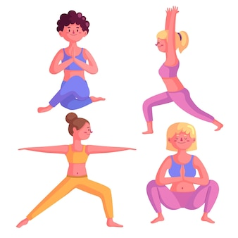 Pessoas fazendo coleção de ioga