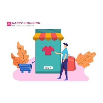 Pessoas fazendo compras, comprando online através da loja online, aplicativo de loja de conveniência, ilustração em vetor design estilo cartoon. cartão conveniente, homens e mulheres fazem o pagamento de mercadorias, transação bem-sucedida.