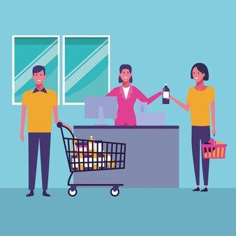 Pessoas fazendo compras de desenhos animados