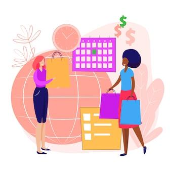 Pessoas fazendo compras na página de destino