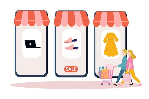 Pessoas fazendo compras virtuais. compras online, peomotion, conceito de marca