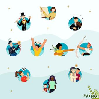 Pessoas fazendo diferentes atividades de entretenimento