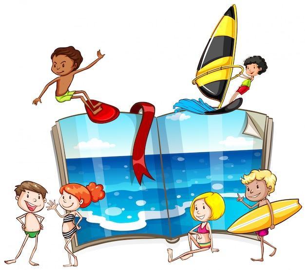 Pessoas fazendo diferentes atividades no mar