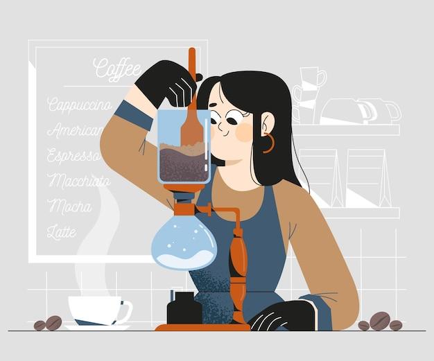 Pessoas fazendo diferentes métodos de café