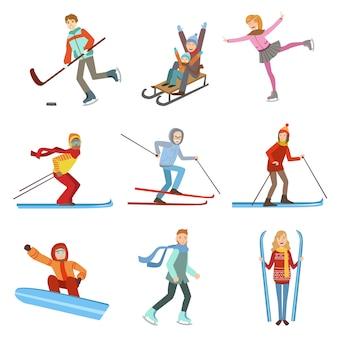 Pessoas fazendo esportes de inverno conjunto de ilustração