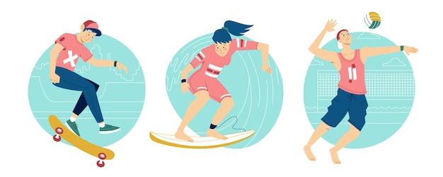 Pessoas fazendo esportes de verão lá fora