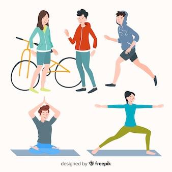 Pessoas, fazendo, exercício