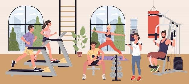 Pessoas fazendo exercícios cardio, levantamento de peso e yoga no ginásio