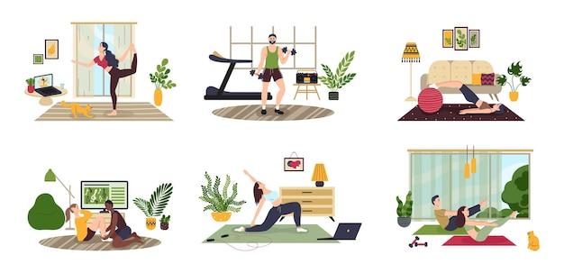 Pessoas fazendo exercícios em casa fazendo exercícios homem mulher família fazendo esportes em casa plana