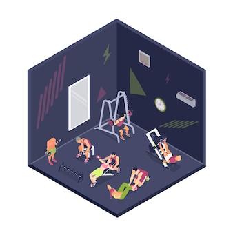 Pessoas fazendo fitness e treinamento no ginásio 3d isométrico