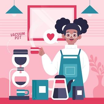 Pessoas fazendo ilustrações de diferentes métodos de café com a garota