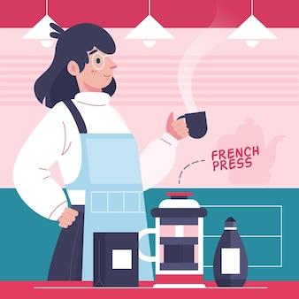 Pessoas fazendo ilustrações de diferentes métodos de café com a mulher
