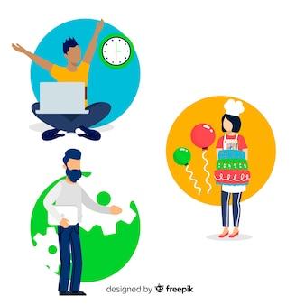Pessoas, fazendo, intdoor, atividades