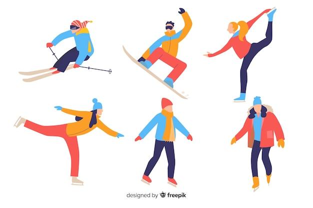 Pessoas, fazendo, inverno, esportes