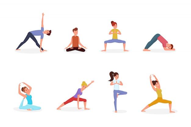 Pessoas, fazendo, ioga, ilustração, jogo