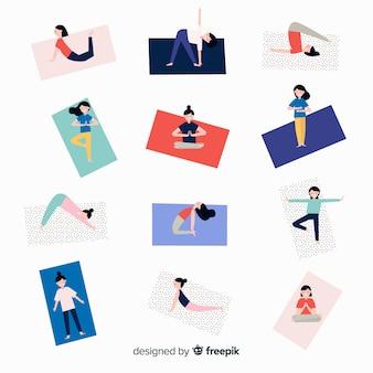 Pessoas, fazendo, ioga