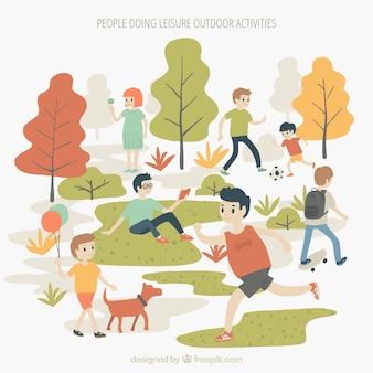 Pessoas, fazendo, lazer, atividades ao ar livre