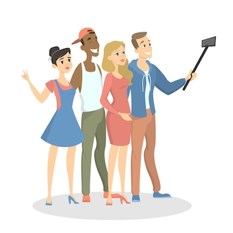 Pessoas fazendo selfie.