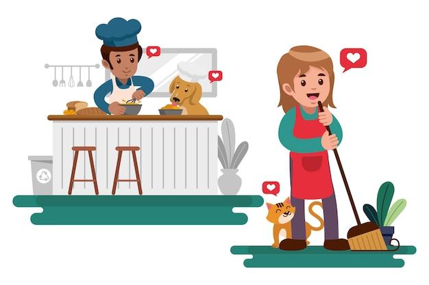 Pessoas fazendo tarefas com animais de estimação