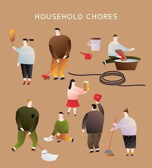 Pessoas fazendo tarefas domésticas em design plano