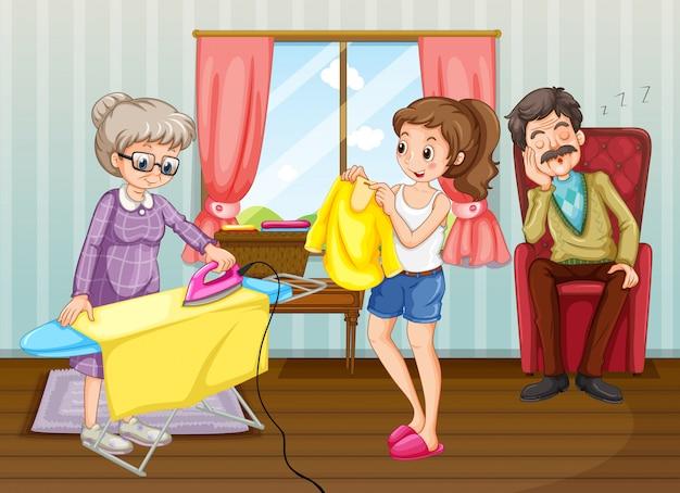 Pessoas fazendo tarefas na casa