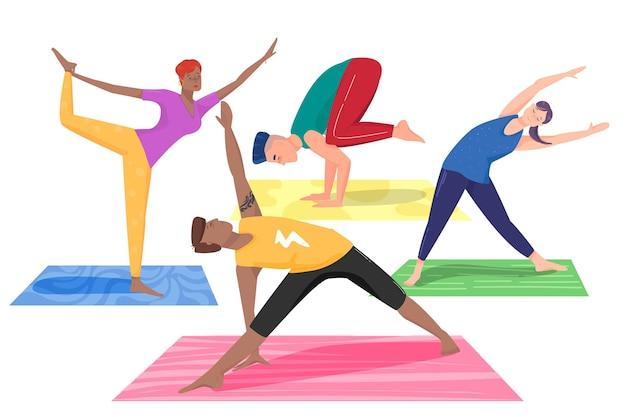 Pessoas fazendo tema de ioga