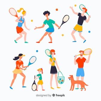 Pessoas, fazendo, tênis