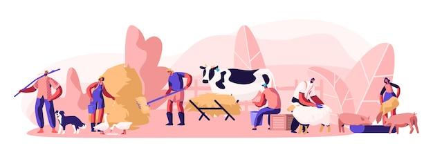 Pessoas fazendo trabalhos de agricultura como alimentação de animais domésticos, vaca leiteira, tosquia de ovelhas, preparar feno para o gado.