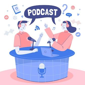 Pessoas fazendo um podcast ilustrado