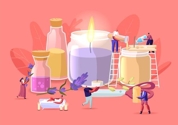 Pessoas fazendo velas de aroma para o conceito de decoração de casa. personagens minúsculos criam velas enormes usando ingredientes em frascos de vidro, ervas, flores e óleos essenciais em potes. ilustração em vetor de desenho animado