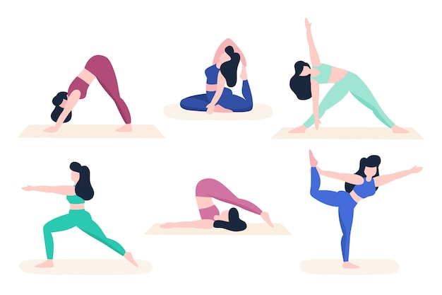 Pessoas fazendo yoga ilustrado