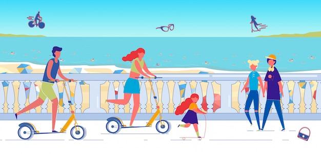 Pessoas felizes andando de scooter no resort à beira-mar