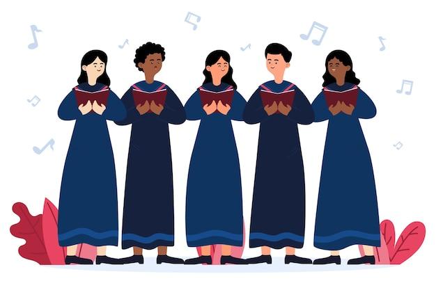 Pessoas felizes cantando em um coro gospel ilustrado