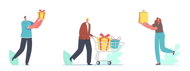 Pessoas felizes carregam caixas de presente embrulhadas com laço festivo. personagens masculinos e femininos preparam presentes para a família e amigos nos feriados do dia seguinte ou na celebração do aniversário. ilustração em vetor de desenho animado