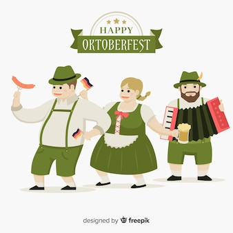 Pessoas felizes, celebrando a oktoberfest com design plano