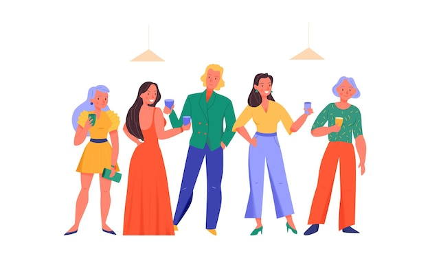 Pessoas felizes com bebidas em ilustração plana de festa