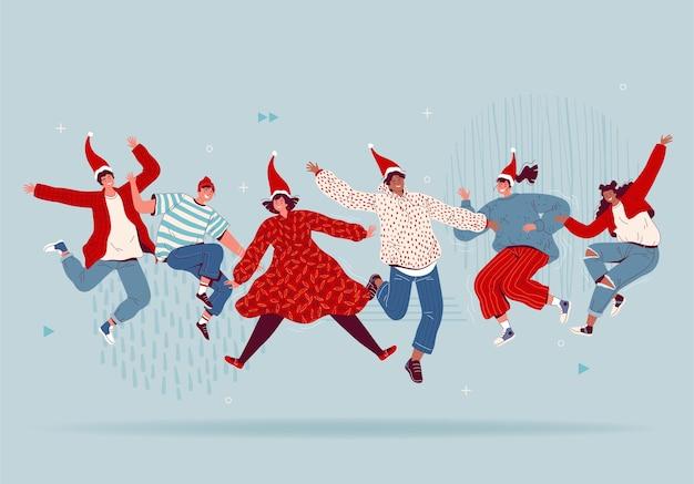 Pessoas felizes com chapéus de papai noel estão pulando e celebrando o natal e o ano novo. amigos se divertem e riem. apartamento de desenho animado.