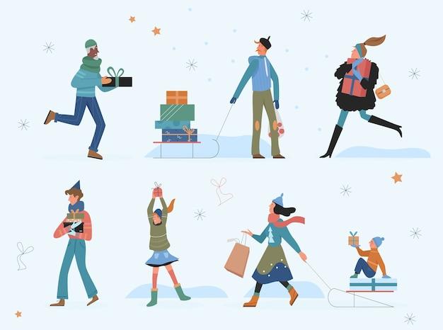 Pessoas felizes com ilustração de presentes de natal.