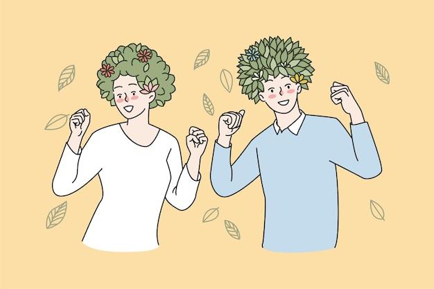 Pessoas felizes com plantas verdes na cabeça