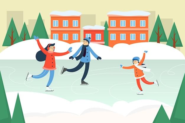 Pessoas felizes com roupas de inverno patinam na pista de patinação no gelo.