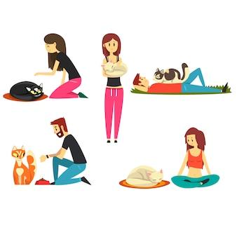 Pessoas felizes com seus gatos, bichinhos fofos com seus donos desenhos animados ilustrações em um fundo branco