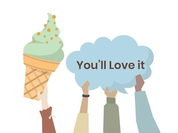 Pessoas felizes com sorvete