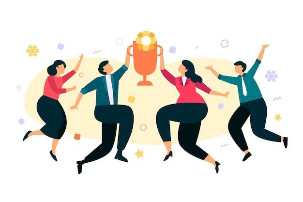 Pessoas felizes comemorando a conquista de uma meta