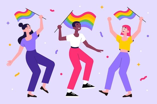 Pessoas felizes comemorando o dia do orgulho