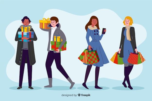 Pessoas felizes comprando presentes