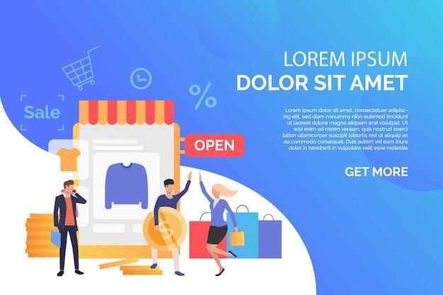 Pessoas felizes comprando roupas na loja online com texto de exemplo
