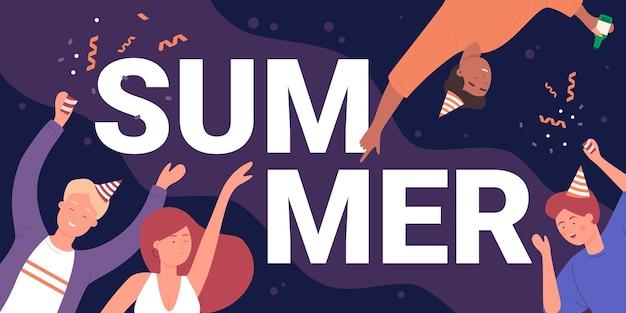 Pessoas felizes dançando na diversão da festa de verão, jovens amigos dançando ao som da música perto do word de verão
