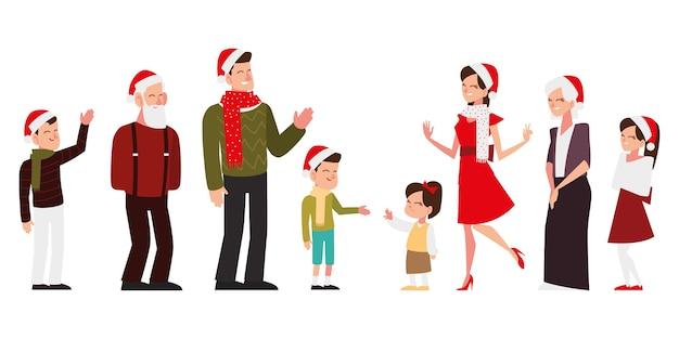 Pessoas felizes de natal com chapéu e lenço comemorando ilustração de festa de temporada