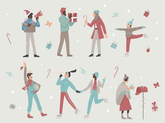 Pessoas felizes desfrutam de conjunto de ilustração de época de natal.